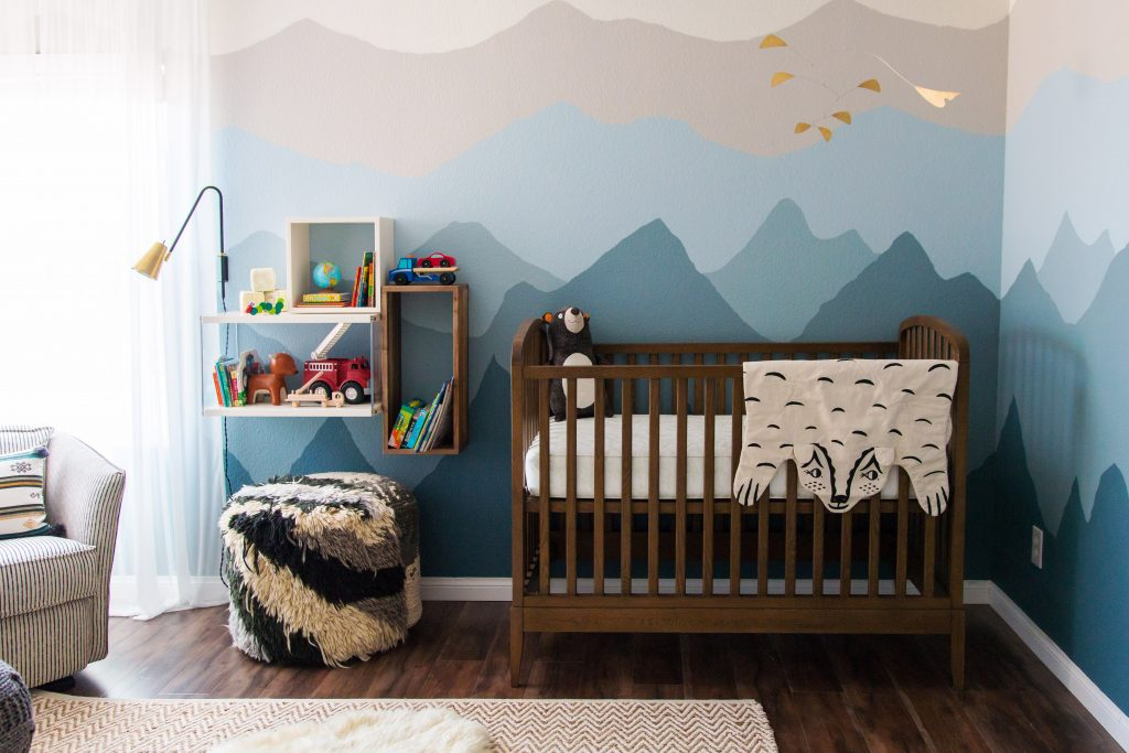 Ombr mountain nursery design by numbers for Mountain crib bedding